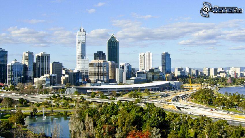Perth, grattacieli, autostrada, alberi