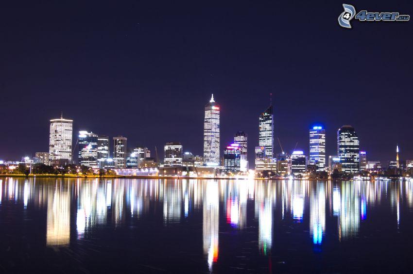 Perth, grattacieli, città notturno