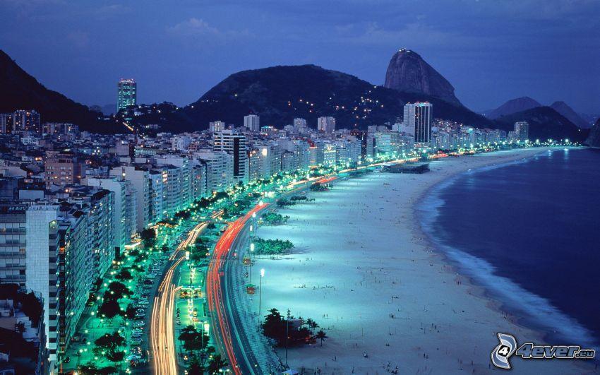 Rio De Janeiro, spiaggia, città notturno