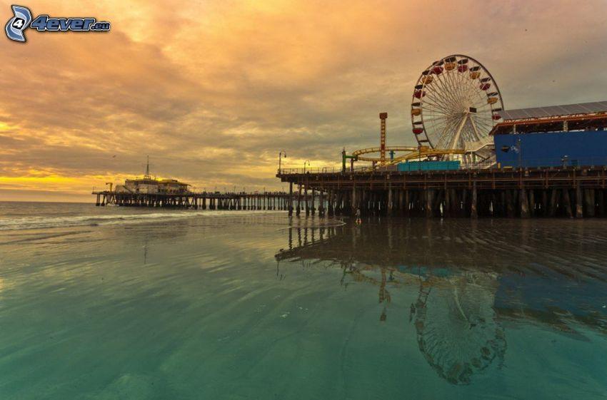 Ruota gigante, mare, dopo il tramonto, Santa Monica