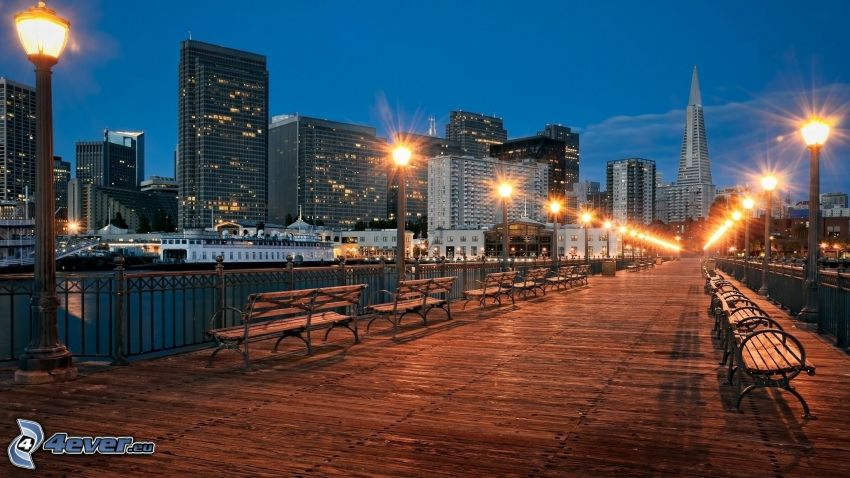 San Francisco, ponte pedonale, lampade