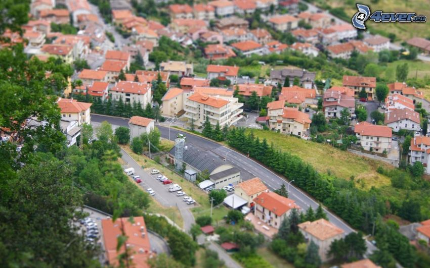 San Marino, vista della città, case