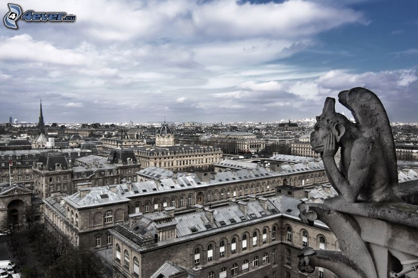 statua, vista della città, Parigi