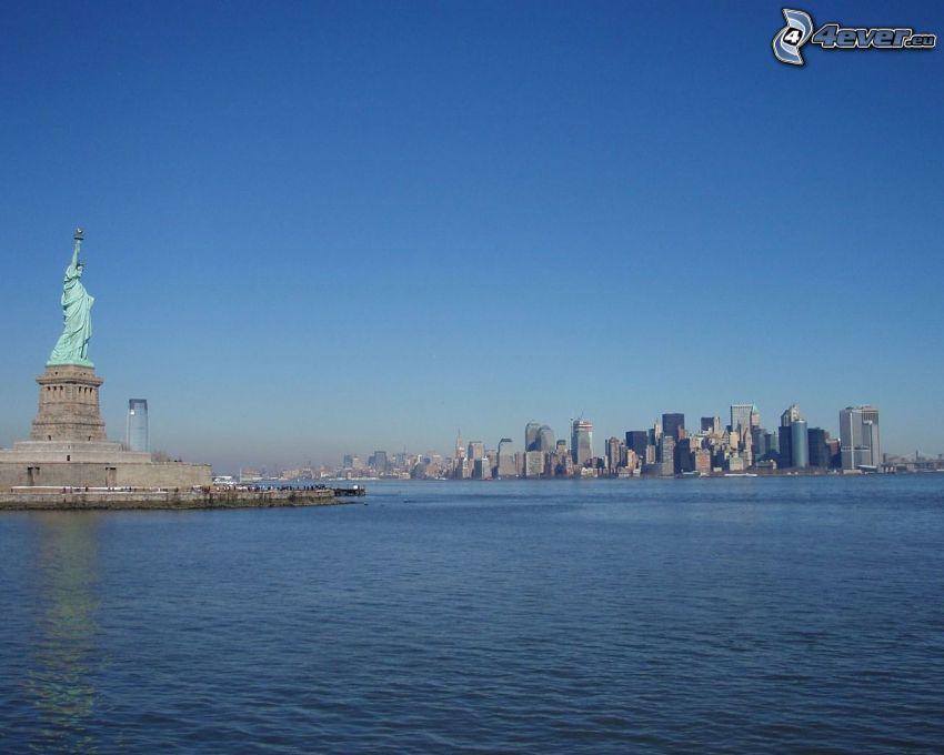 Statua della Libertà, New York, grattacieli, mare