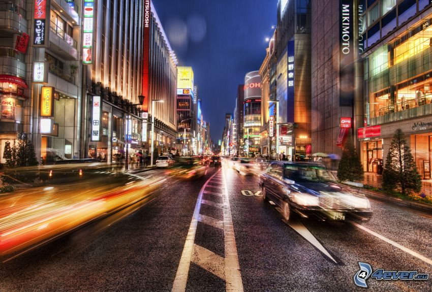 strada, sera, auto, HDR