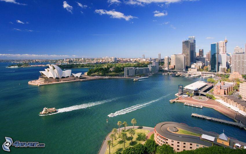 Sydney, grattacieli, cielo, mare