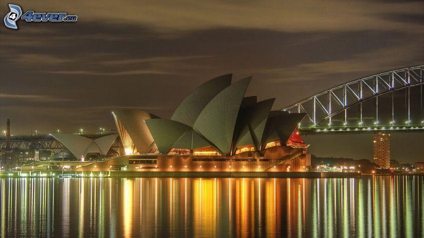 Sydney Opera House, città notturno