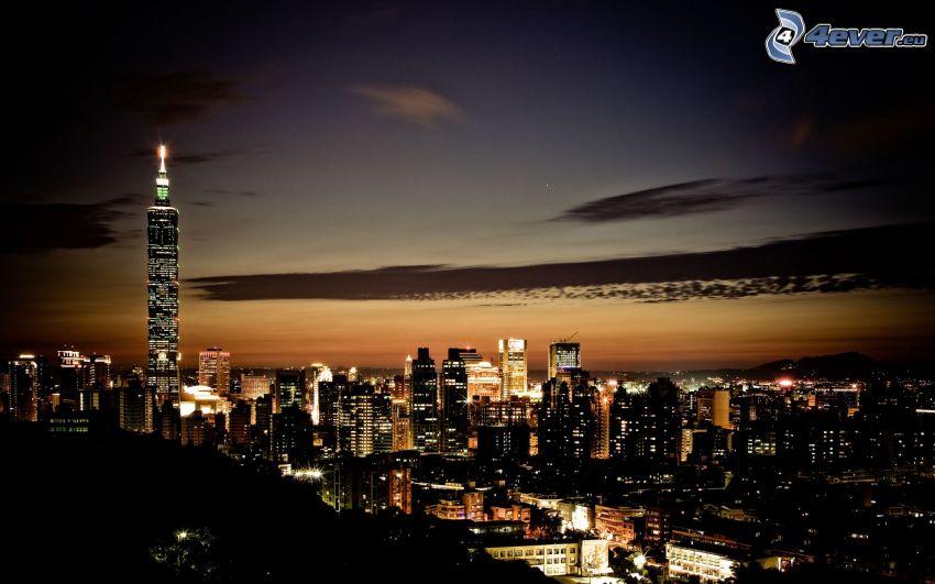 Taipei 101, Taipei, città notturno