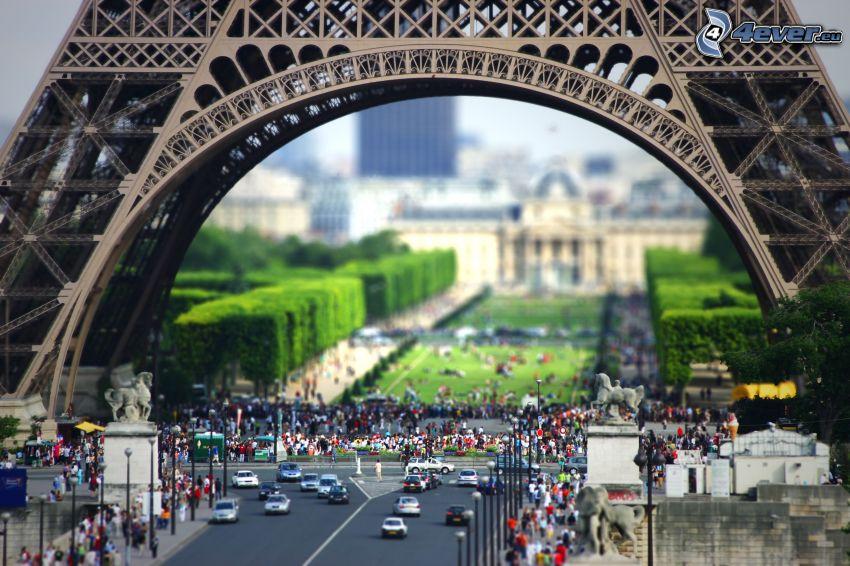 Torre Eiffel, gente, diorama