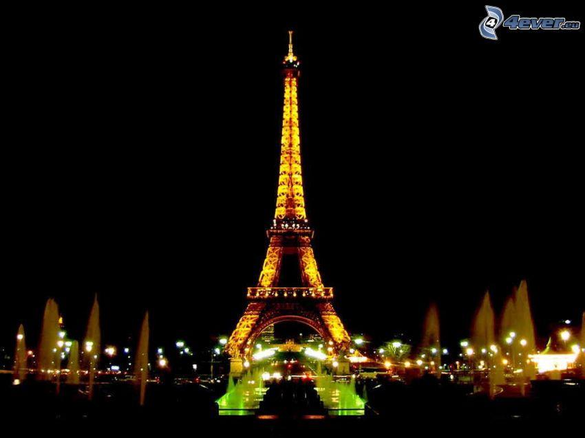 Torre Eiffel di notte, Parigi, Francia