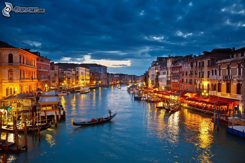 Venezia, Italia, sera, illuminazione, nuvole, HDR
