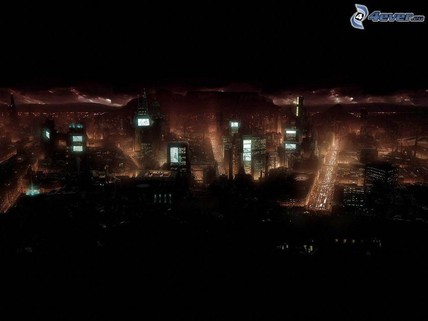 vista della città, città notturno