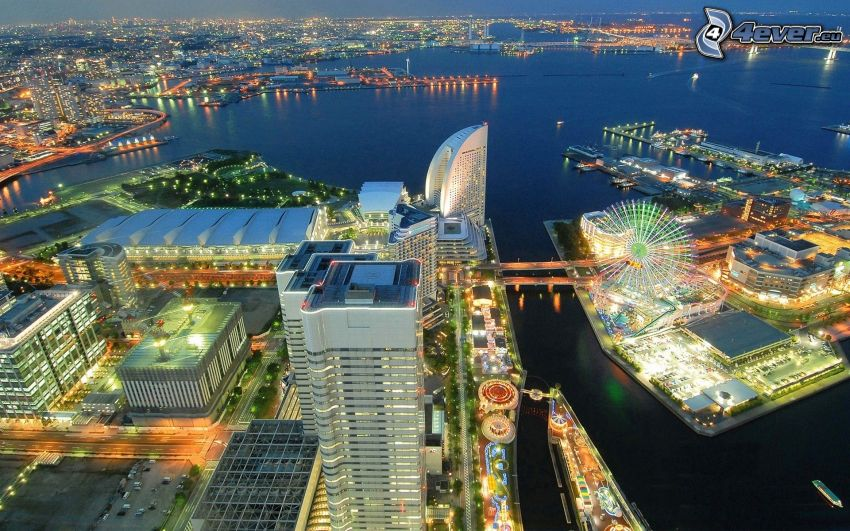 Yokohama, Landmark Tower, luci, grattacielo, HDR