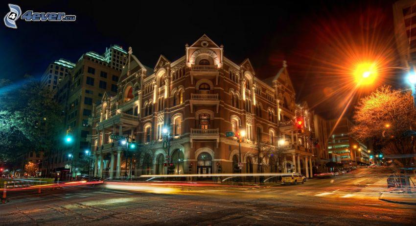 edificio, lampioni, notte