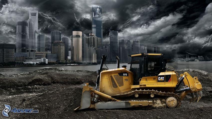 escavatore, grattacieli, tempesta