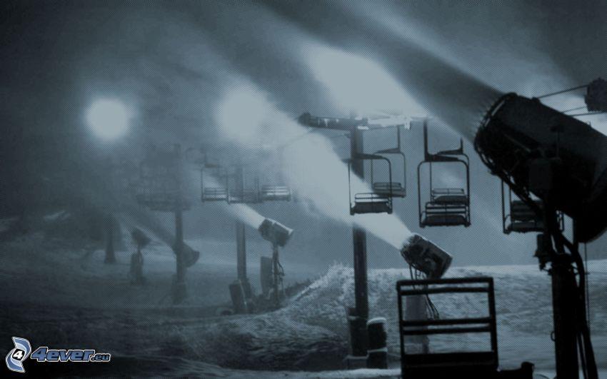 funicolare, luci, neve, oscurità