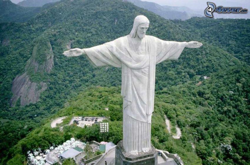 Gesù a Rio de Janeiro, statua, Rio De Janeiro, Brasile, la vista del paesaggio, colline