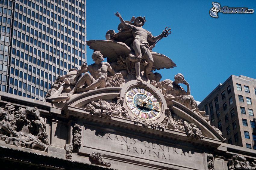 Grand Central Terminal, statue, orologio