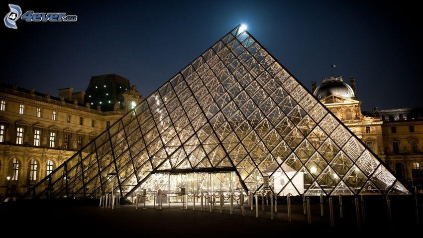 Louvre, Parigi, Francia, piramide di vetro, sera, illuminazione