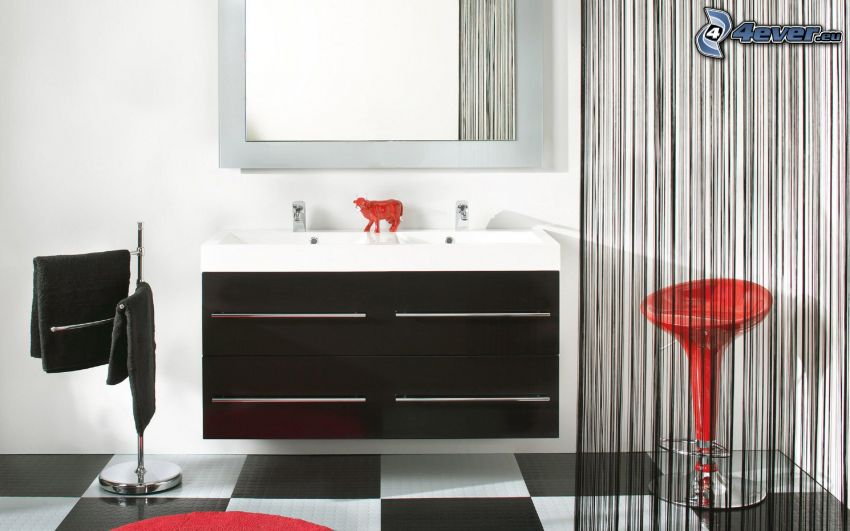 bagno, armadio, specchio