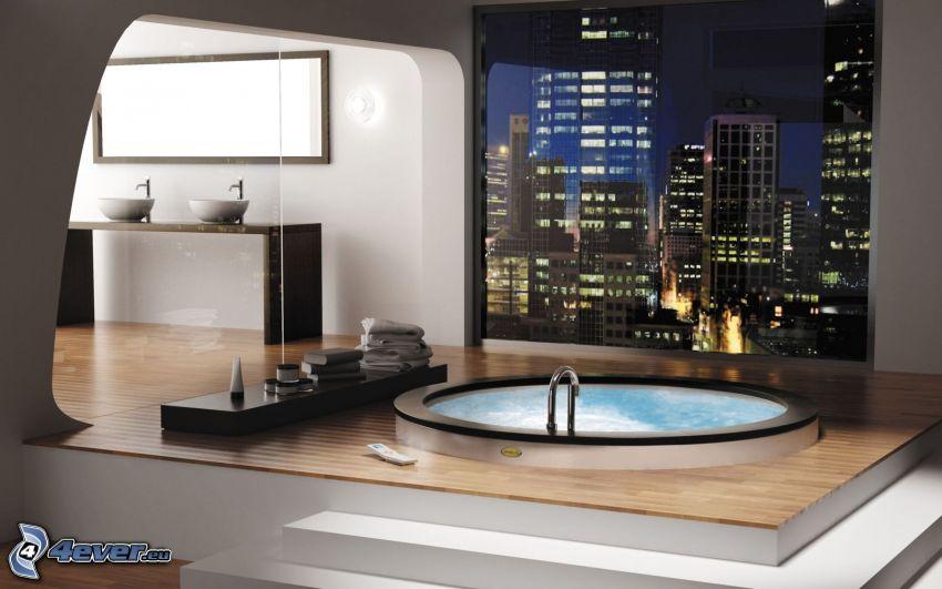 bagno, città notturno, lavabi
