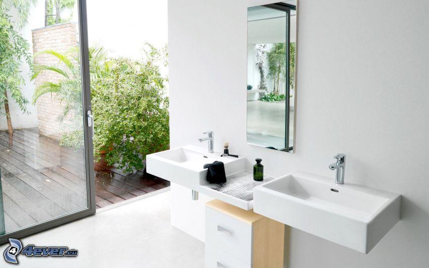 bagno, lavabi, piante