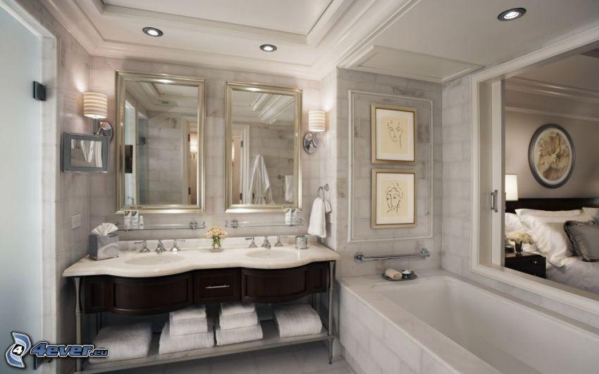 bagno, lavabi, specchi