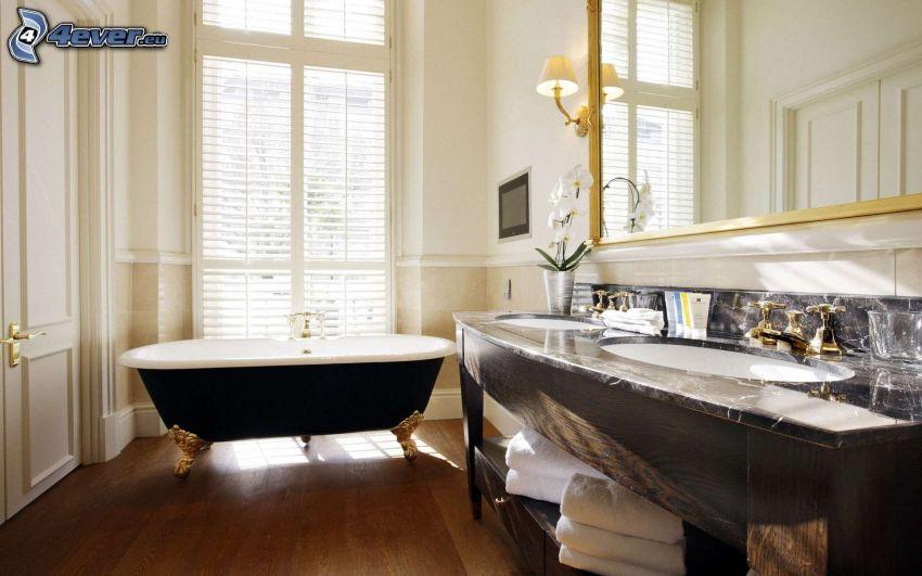 bagno, lavabi, specchio