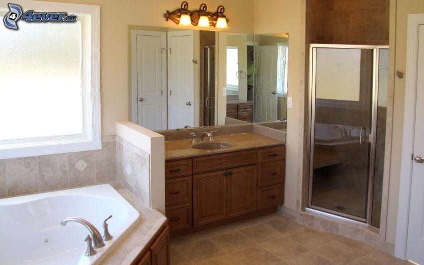 bagno, lavandino, specchio, lampada, finestra