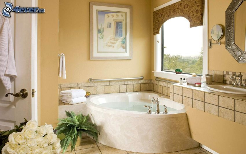 bagno, pittura, finestra
