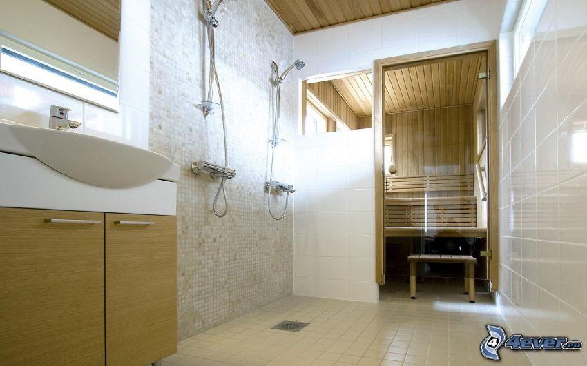bagno, sauna, lavandino, doccia