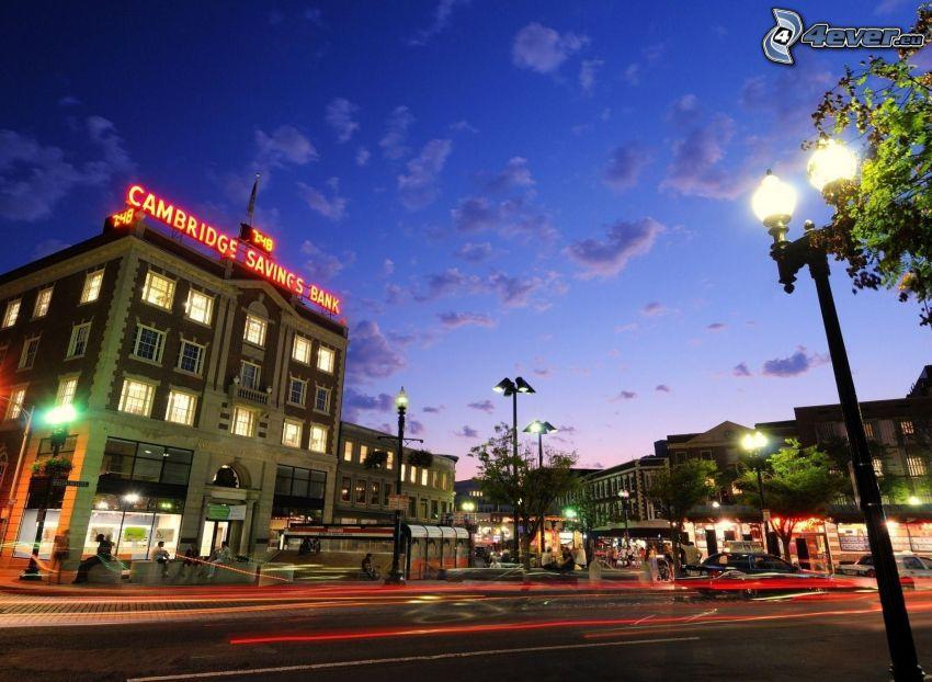 Cambridge Savings Bank, Harvard, sera, strada