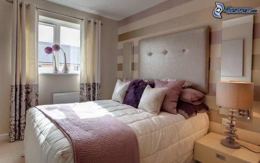 camera da letto, letto, cuscini