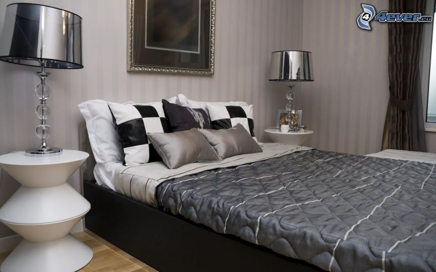 camera da letto, letto matrimoniale, comodino, lampada