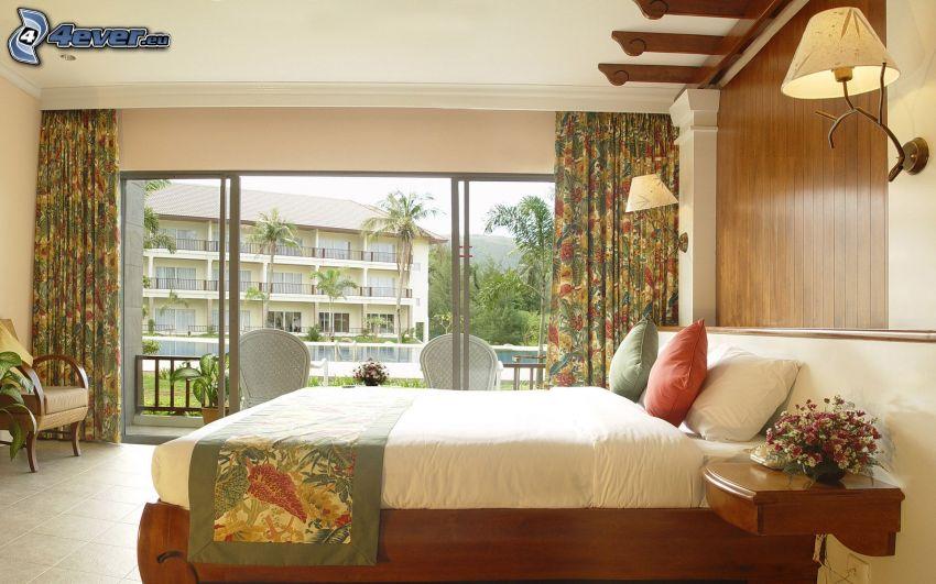 camera da letto, letto matrimoniale, finestra, piscina