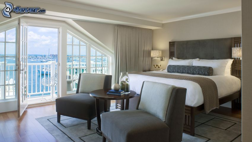 camera da letto, letto matrimoniale, sedie, vista sul mare