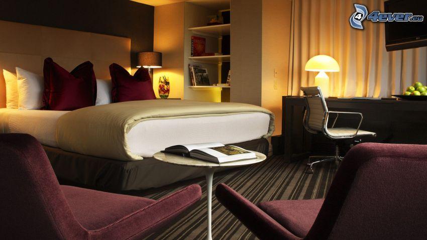camera da letto, letto matrimoniale, sedie
