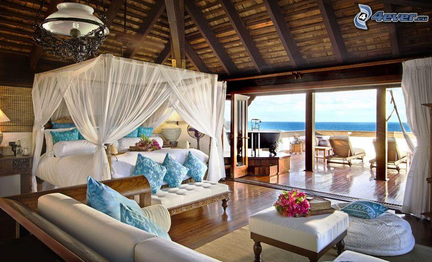 camera da letto, letto matrimoniale, terrazza