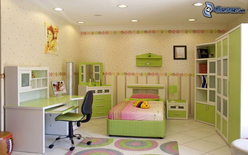 camera di bambini, verde