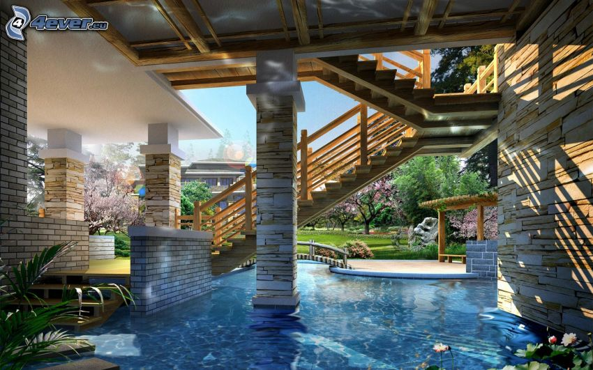 casa di lusso, scale, piscina