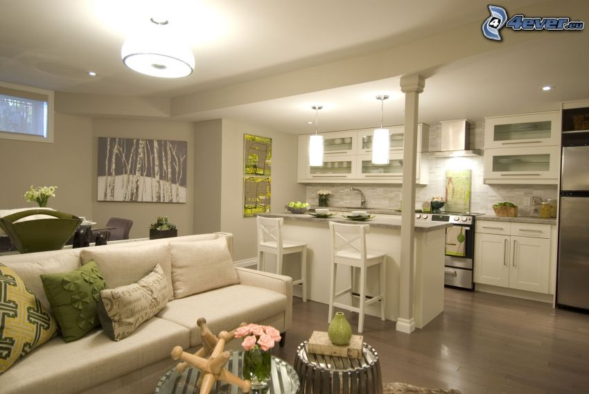 cucina, divano, bar