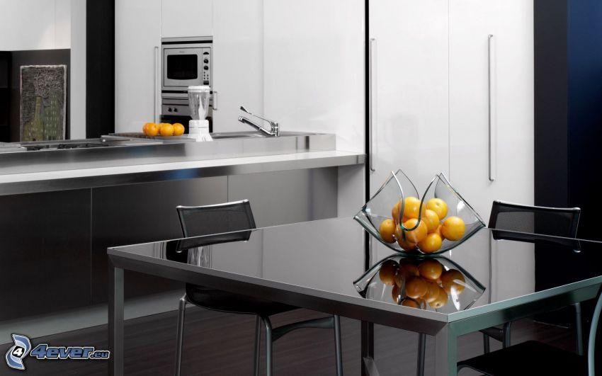 cucina, tavolo, arance
