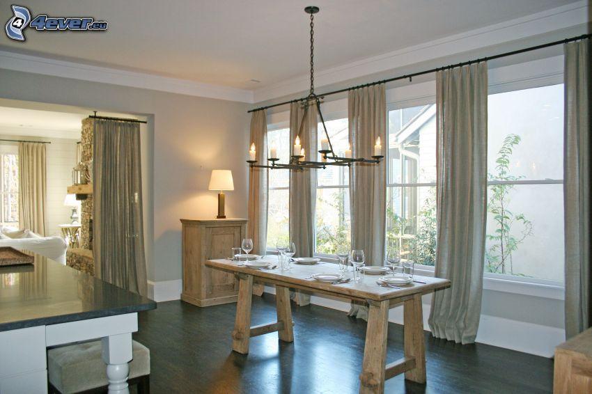 cucina, tavolo, finestre