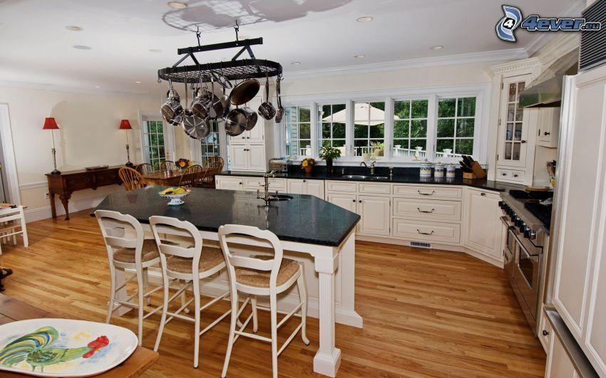 cucina, tavolo, sgabelli da bar