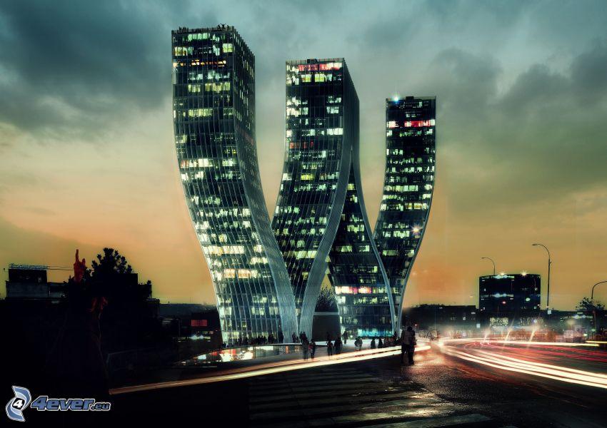 edificio, città notturno