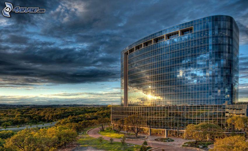edificio, vetro, Texas, USA, nuvole, alberi, HDR