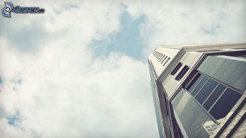grattacielo, cielo, nuvole