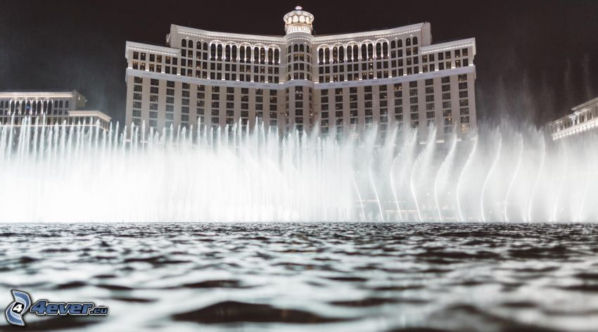 hotel Bellagio, Las Vegas, fontana, notte
