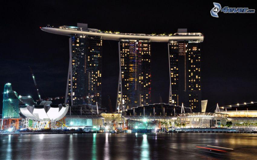 Marina Bay Sands, Singapore, notte, illuminazione