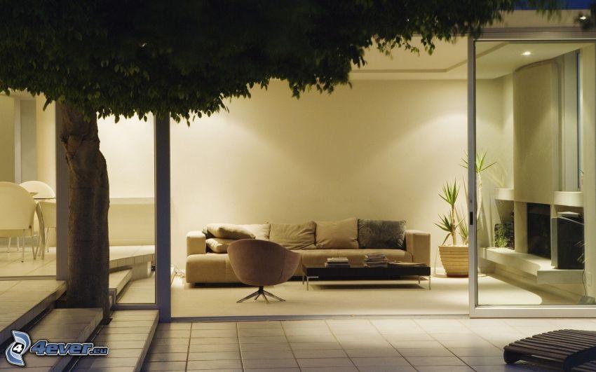 soggiorno, albero, divano
